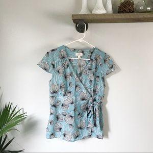LOFT blue floral wrap blouse! Size 6